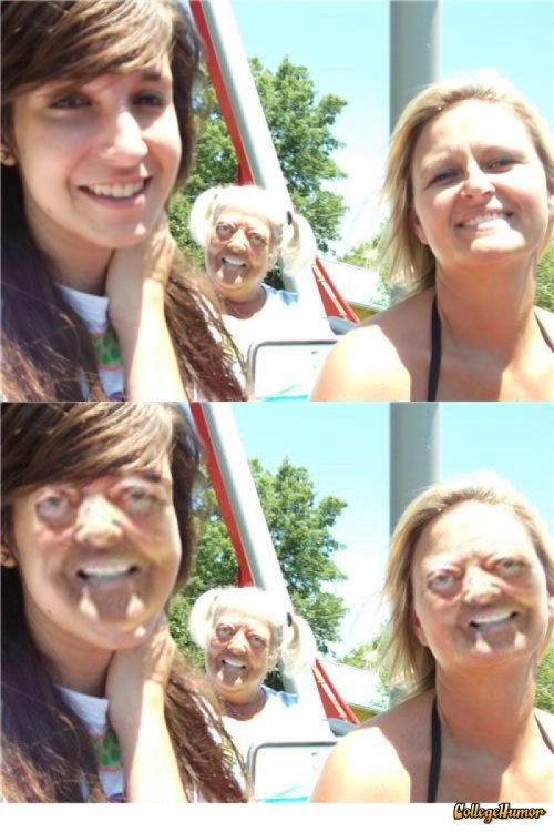 Old Lady with Pigtails Photobomb