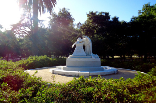 The angel of grief statue on Stanford University's campus by Rodin