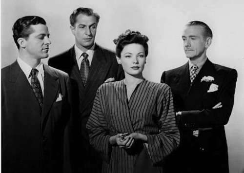Dana Andrews, Vincent Price, Gene Tierney, and Clifton Webb in Laura (1944)