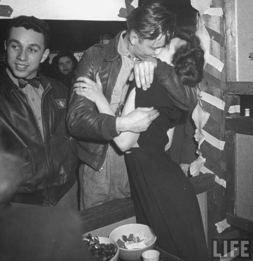 A Couple At a Kissing Booth During a Fair at the University of Wisconsin 1946