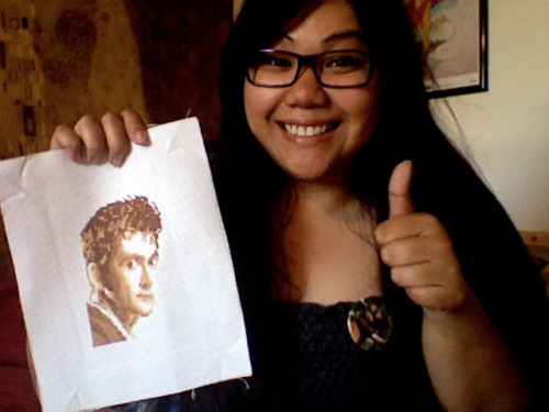 Look what arrived today: Tenth Doctor cross-stitch & an excellent Four badge, courtesy of hithah! THANKS!!!! <3<3<3