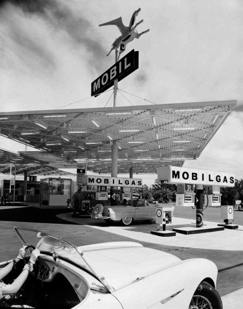 Take me back in time the cars, the fashions & THE GAS PRICES! melisaki:  Mobil Gas Station photo by Julius Shulman, 1956 via: eat tarantula