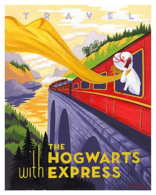 Travel with The Hogwarts Express by Caroline Hadilaksono.