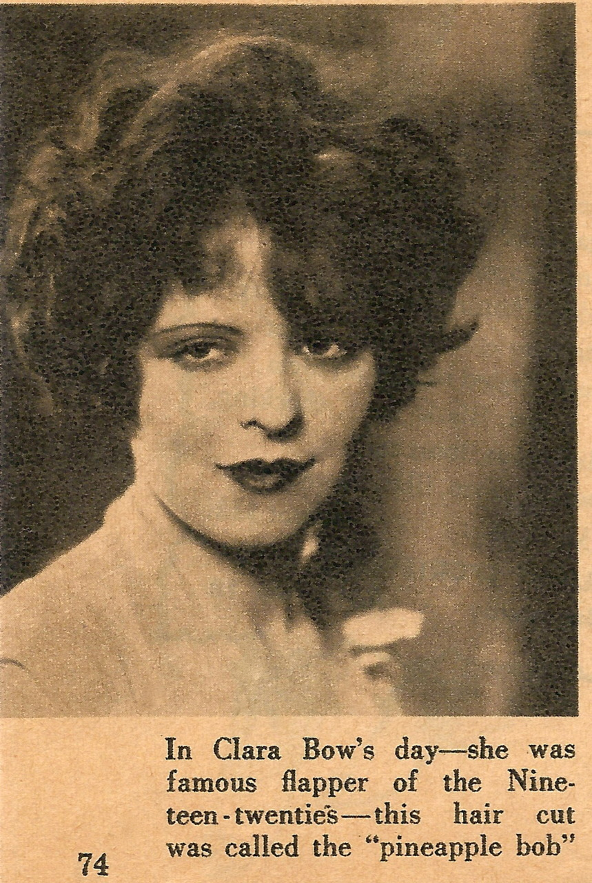 "clarabowarchive:  Clara Bow's haircut called the ""pineapple bob"".  Original clipping, date & source unknown."