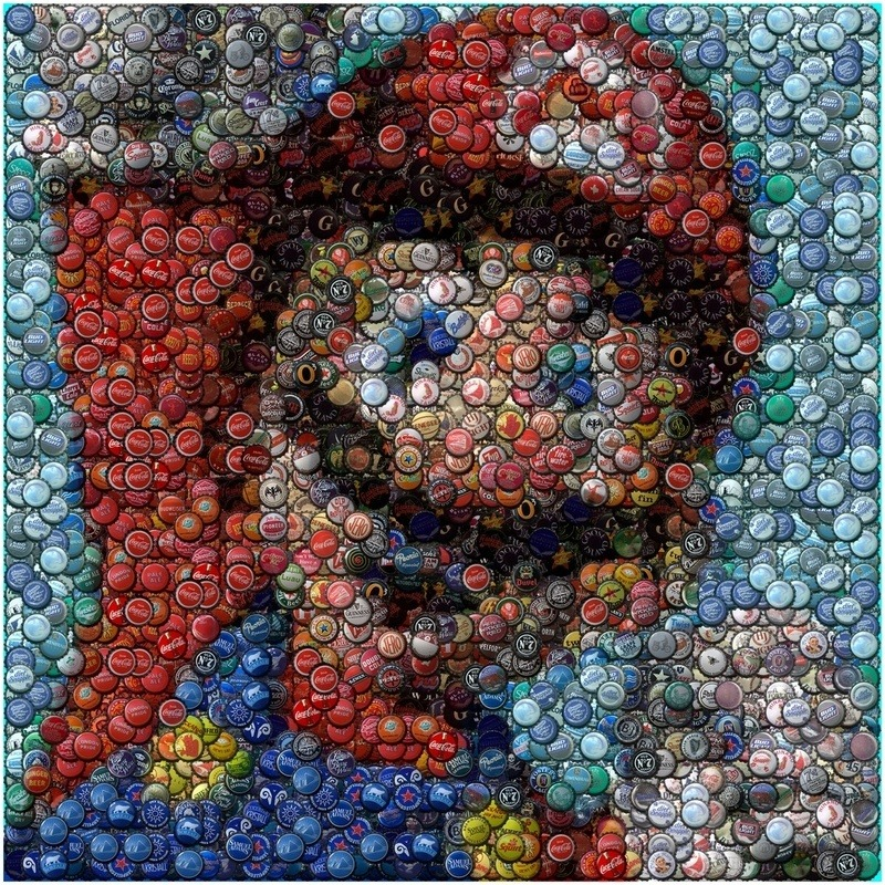 insanelygaming:  Nintendo Super Mario Bottle Cap Mosaic - by Paul Van Scott This is Mario made of 100s of bottle caps. This man sure has a lot of patience.