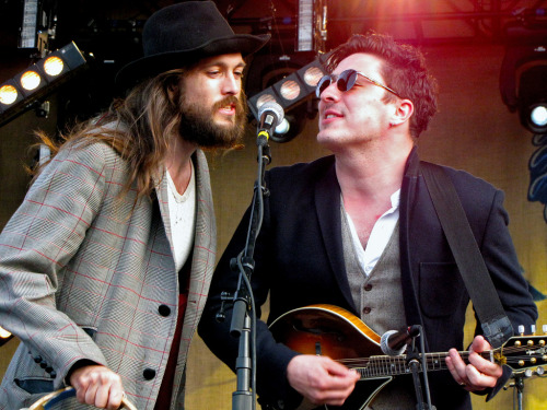 Alex Ebert of Edward Sharpe and the Magnetic Zeros and Marcus Mumford of Mumford & Sons perform on the 2011 Railroad Revival Tour.