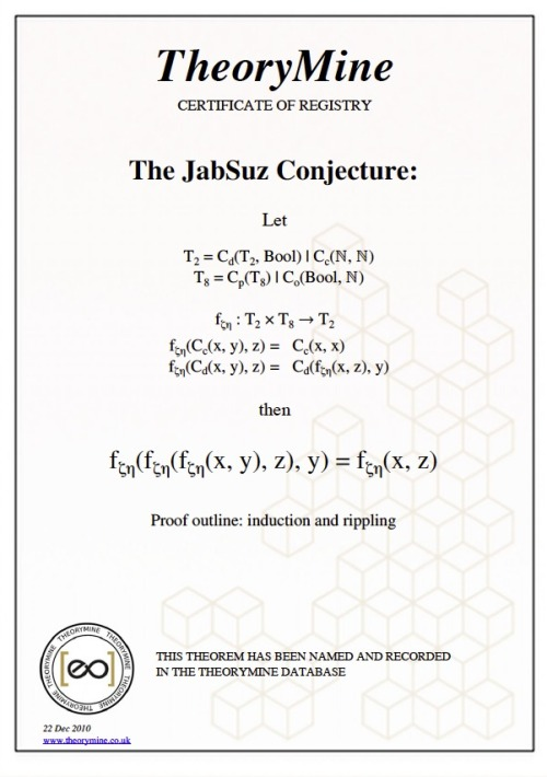 The JABSUZ CONJECTURE. A very sweet Christmas present from Jab.❤ futurejab:  As a Christmas present and some fun I paid for some time on a super computer that finds proofs for mathematical theories. If you pay for the time, you get to name the proof it finds. And that proof retains it's name for eternity. This is the JABSUZ CONJECTURE (Link: THEORY MINE)