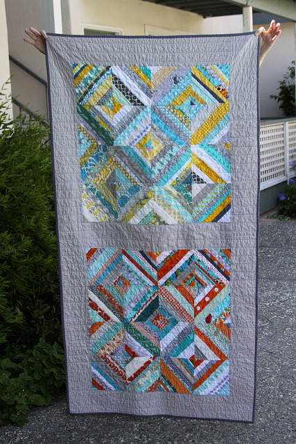 "Single double quilt coma. A Quilt for Two by Kelsey and the women of the ""FAITH do. Good stitches"" bee, an original design featured on her blog."