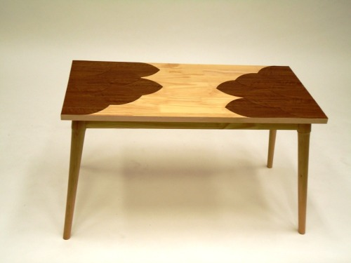"scales coffee table. coffee tables are plenty. inspired by mid-century modern furniture, scales brings back the tapered, round, wedged legs and offers more whimsy in its patterned top. 36"" x 18"" x 21"" (w x l x h). laminate pine top with imported, hand-cut veneer, solid hand-turned maple legs.  2010."