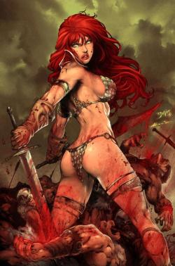 "fluffydove:  ""Red Sonja Fights"" artwork by Ed Benes."