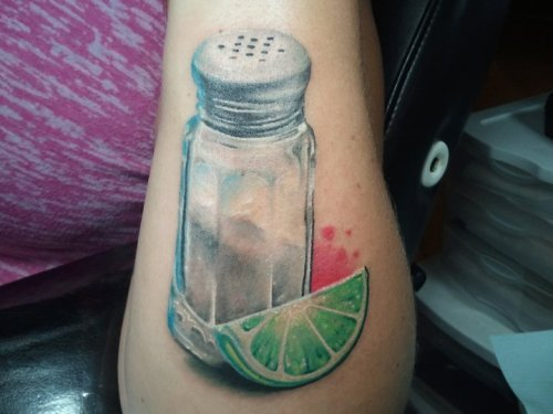 "This is my ""lost shaker of salt"" tattoo done on 7/7/11 by Zack Singer at AE Tattoo in Dallas. It is a little reminder of my daddy who passed away on 11/22/10. He was a huge Jimmy Buffet fan! Zack is the best tattoo artist EVER!!!"