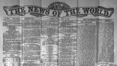 Time Once Was: News of the World circa 1870 The Financial Times has an interesting video analyzing the paper's closing and its wider implications. Photo: Via BBC In Pictures.