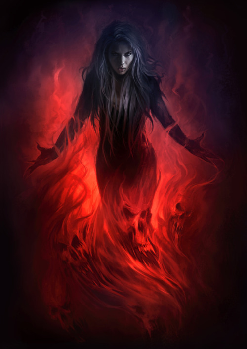 """Dark Priestess"" - original artwork which was used for the cover of our very first art book. Special thanks goes to Marcus J. Ranum and Miss Mosh for the awesome photo ref. Link to original photo ref here."