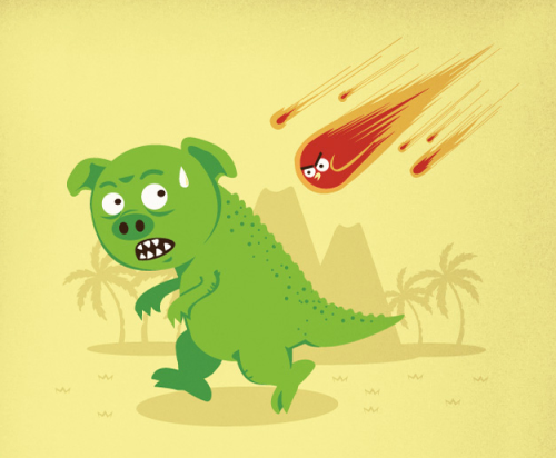 The Angry Meteors take on the Green Dinos in Adhika Rahmani's new prehistoric shirt design. Now up for vote over at Threadless! Angry Meteors by Adhika Rahmani / Ndikol (Flickr) (Twitter)  Via: threadless
