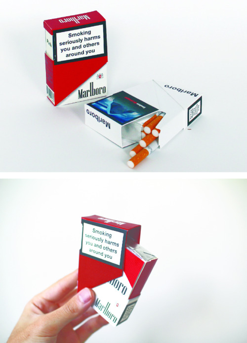 designersof:  UK Government announced that cigarette display will be banned in all shops between 2012 and 2015 and is planning an application of plain packaging for cigarettes and other tobacco products before the end of thins year. The tobacco industry needs to find a new way to promote their products.   This new tobacco pack can characterise Marlboro brand with its visual appearance and opening method. The outstanding packaging structure can attract people even it is taken away the graphic on it.  The customer can get a free sticker attached the packaging. Those stickers can expose brand identities on variety of objects.   Rio Yamashita