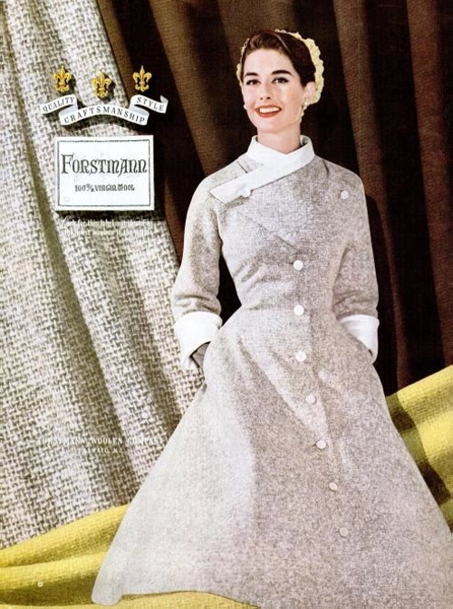 yehyehgrace:  Forstmann Woolen Company - 1955  If our weather permitted it, I would totally wear this!