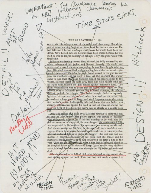 ruinawish:  'Coppola plots out the intensity of the scene in his notebook.'