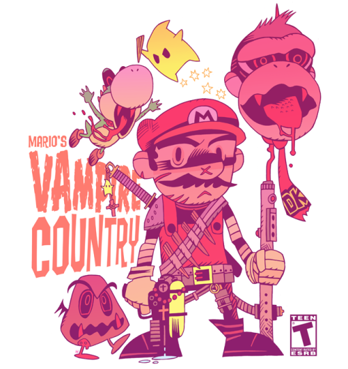 Mario brings down an endless vampire onslaught! This Wii game needs to actually be created now thanks to artist Dann Hipp. Related Rampages: Mario Bros. Zombies | Vs. The World (More) Mario's Vampire Country by Dan Hipp / mrhipp (Flickr) (Tumblr) Via: mrhipp