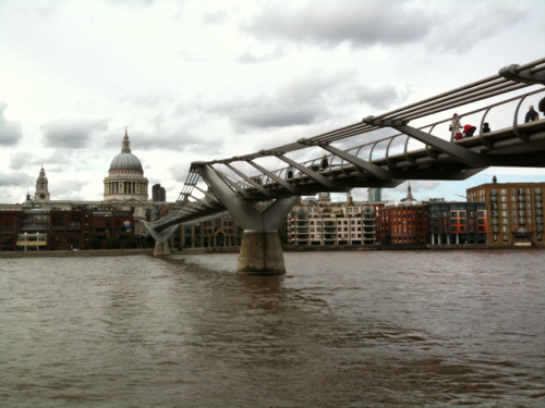 'Thames at St. Pauls'  Walking the South Bank from Royal Festival Hall, where I enjoyed peace & quiet with Wi-Fi, to Bermondsey where I shall get the tube home.  Here is the Cathedral & Millennium Bridge from Bankside in front of Tate Modern.