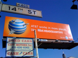 AT&T works in more places, like NSA headquarters | AT&T Billboard Hack by jgreer on Flickr.