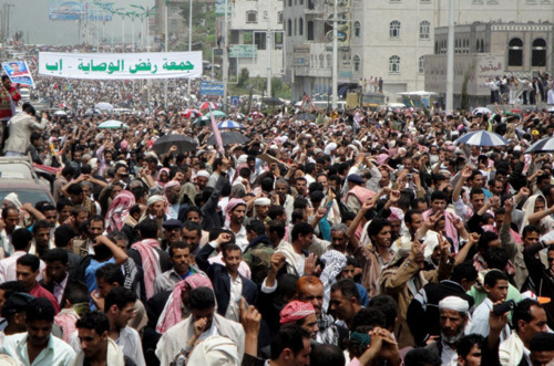 "fuckyeahmarxismleninism:  Hundreds of thousands of Yemeni anti-government protesters rally in the city of Ibb, saying that President Ali Abdullah Saleh is ""politically dead,"" July 8, 2011."