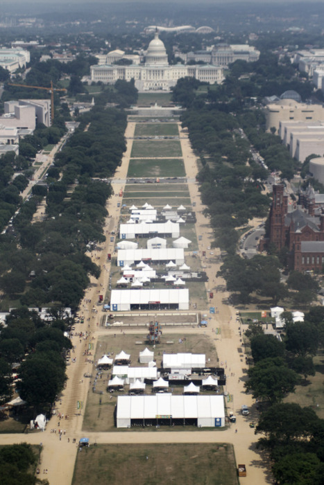 A different view of the Folklife Festival from atop the Washington Monument (Our videographer Lee had the opportunity to visit the Monument with one of the Festival participants from Georgia)