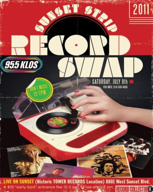 theroxy:  On July 9, The Sunset Strip is hosting a record swap! If you've been around for a while, you probably remember when they were here back in the day. If not - the legendary Tower Records lot will now become a hub for music again. There will be over 40 collectors alongside Record Collector News, KLOS, and The Sunset Strip with over 100,000 records to purchase!     Tickets are $15 for early entry from 12pm-2, or $10 with a canned food item. Entrance is free after 2 p.m. and the event wil run til 7pm. July 9, 2011  LIVE! on Sunset   8801 W. Sunset Blvd. West Hollywood, CA For more information, call 818-308-4695.  Always a joy to visit (#vinyl) record fairs, like in the ol' good days! Great poster!