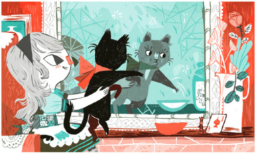 Um, yeah, so there's this chick called Meg Hunt who is an AWESOME illustrator! Thanks Meg for inspiring me in a time of craziness and woe. Here's what Meg has to say about this piece:  One of the nice things about working on Alice this past year has been a  couple of off-shoot projects. This one was a particular thrill, as it  was for one of my favorite podcasts— Radiolab. The stellar Jez Burrows asked to me to contribute to a live show of theirs all about symmetry.  What better way to showcase that than with the Looking Glass from the  second Alice book? If I were to ever illustrate Through the Looking  Glass, I would use these colors I think— they had a limited palette for  the show, but I really like how it worked out. If only they had the  live shows to watch online, I'd love to see the rest of the show!