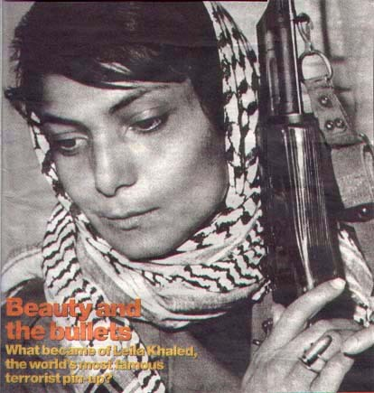 "bonjour-habibti:  At the age of 25, Leila Khaled gained worldwide  notoriety for hijacking planes to bring attention to the plight of  Palestinians whose land had been stolen and settled by Zionists. In  1969, armed with handguns and grenades, under the direction of the  Popular Front for the Liberation of Palestine (PFLP), Leila became the  first woman to ever hijack a plane. She commandeered a flight from Rome  bound for Athens and demanded that the pilot fly over her birthplace,  Haifa, where her family was forced from their home by Zionist Israeli  settlers. No flight personnel or passengers were injured, but the plane  was blown up. She still rejects any charges of  terrorism leveled at her, explaining in a recent interview, ""There is a  difference between terrorism and armed struggle. Palestinians have the  right under international law, to struggle by all means, including armed  struggle."""