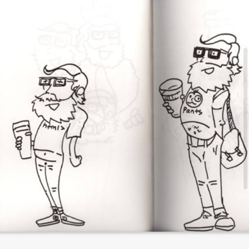 Nice little sketches from our designer, Van.  Keep an eye out for these somewhere ;).  Sweet!  vanshea:  Hipsters (Taken with instagram)