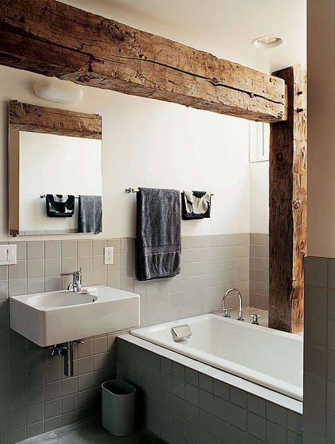 Super cool bathroom with a rustic touch.