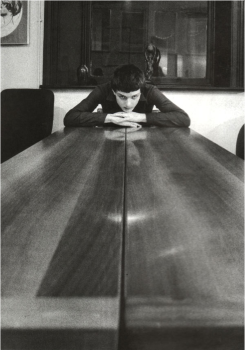 kvetchlandia:  Kevin Cummins     Ian Curtis     c.1979   THE table at Factory Records