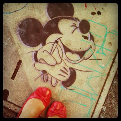 So glad I was wearing my Minnie Mouse shoes when I met Mickey. (Taken with instagram)