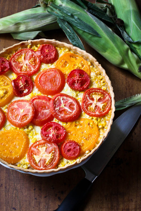 tomato, corn and vidalia tart