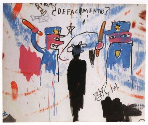 "derica:  Jean-Michel Basquiat | Defacement (The Death of Michael Stewart) Michael Stewart was an 135 pound, 25 year old African American graffiti artist from NYC who was arrested on September 15th 1983 after being seen scrawling graffiti on a wall of First Avenue Station in Manhattan .   He was booked at the Union Square District 4 transit police headquarters for resisting arrest and unlawful possession of marijuana, then was transported to Bellevue Hospital Center to undergo psychiatric observation. Stewart was admited to  Bellevue Hospital at 03:22 am, handcuffed, legs bound and comatose. He never regained consciousness. was admitted to hospital about half an hour after his arrest in a coma from which he never awoke, dying on September 28th.   Six of those officers eventually faced homicide charges, and were acquitted.  They were all white, and the jury were all white.  According to the city's Chief Medical Examiner Dr. Elliot Gross's preliminary autopsy report, Stewart's injuries of facial bruises and abrasions on his wrists were not linked to his death  His death was from cardiac arrest caused by strangulation. The November 2 medical examiner's final report from Dr. Gross differed from his preliminary report. Gross declined to state explicitly what caused the death, but reported that Stewart died of ""physical injury to the spinal cord in the upper neck"" and concluded that there were ""a number of possibilities as to how an injury of this type can occur… (via southerntellect:) Jean Michel Basquiat was upset and traumatized by the police killing of Michael Stewart; he felt that it could just as easily have been him. Obviously this piece looks at police brutality, with the word ""defacement"" referring to both the graffiti artist's offense and the lethal beating to the face which the police administered for that offense (and probably more than that, too; e.g. erasure, dehumanization, non-recognition). Being the son of a Haitian father and Puerto Rican mother, Jean Michel grew up trilingual, speaking Spanish, French, and English, and all three languages make frequent appearances on his canvases. (via zuky:)"