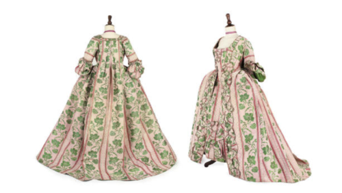 ornamentedbeing:  AN OPEN ROBE AND PETTICOAT, 1760S of pink silk brocaded with a rambling green vine, trimmed with fly braid on open robe and petticoats (2) Sold for £14,900