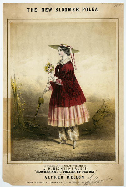 Music sheet cover for The New Bloomer Polka, 1851 I wonder how many women actually wore them?