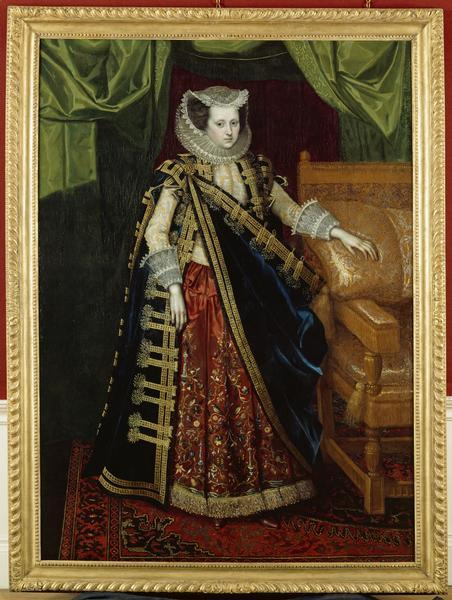 Elizabeth Home, Countess of Suffolk by Paul van Somer (?), ca 1615-17 England, English Heritage Does anyone know what she has wrapped around her?  Some kind of coat, it looks like.  I've never seen anything like it before.