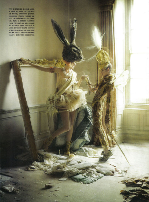 Yet more lovely Mitford spawn. Stella wears a bunny head. Tim Walker for Vogue Italia. 2010.