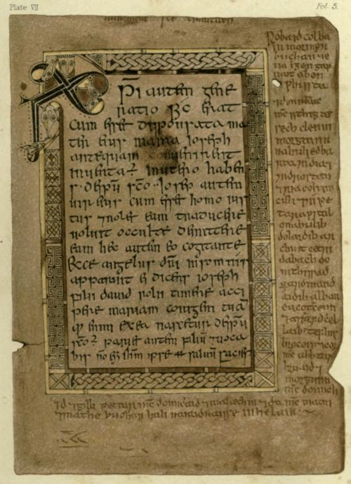 Folio 5r contains the text of the Gospel of Matthew from 1:18 through 1:21. Note the Chi Rho monogram in the upper left corner. The margins contain Gaelic text.The Book of Deer. Ed. for the Spalding Club by John Stuart (1869) Author: Spalding Club, Aberdeen; Stuart, John, 1813-1877Subject: Bible; Illumination of books and manuscripts — Specimens, reproductions, etc; Manuscripts, Irish — FacsimilesPublisher: Edinburgh Printed for the Club by Robert Clark http://www.archive.org/details/bookofdeeredfors00spaluoft