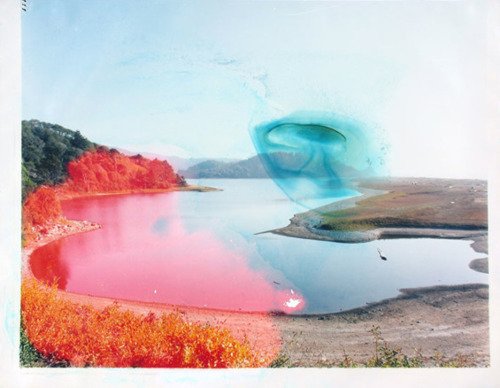floure:   Matthew Brandt soaked each photo in the body of water that it depicts giving each photo a unique abstract film of color and texture.