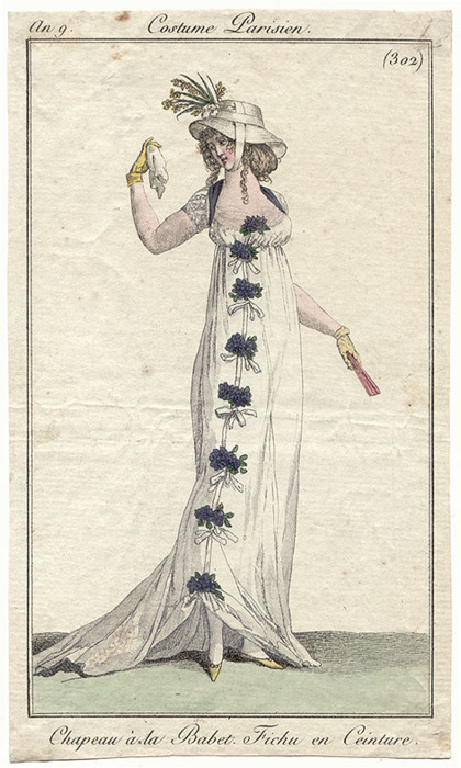Journal des Dames et des Modes, 1800.  What a stunning garland on her gown.  And excellent way to dress up an otherwise basic white dress.