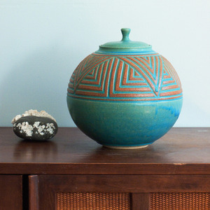 JANET WILLIAMS pottery — Round Lidded Jar - Turquoise