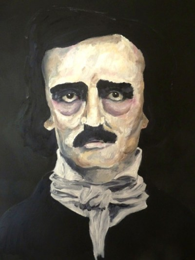 Edgar Allan Poe oil painting, in progress.