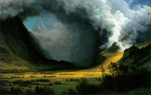 Albert Bierstadt (American, b. Germany, 1830-1902) Storm in the Mountains 1870 Oil on canvas 96.52 x 152.72 cm (38 x 60 1/8 in.) Museum of Fine Arts, Boston