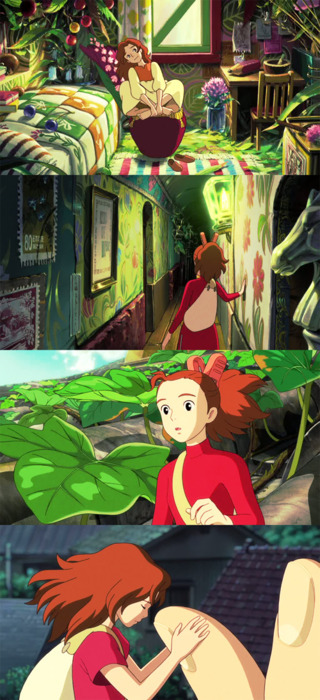 moviesinframes:  The Secret World of Arrietty, 2010 (dir. Hiromasa Yonebayashi) By Orph  I meant to mention, but I saw this movie over the weekend and it was utterly gorgeous. My one complaint is that the mom and dad are voiced by Amy Poehler and Will Arnett (working together awww!), but I'm so familiar with their voices that I couldn't ever get into the mom and dad as actual characters.