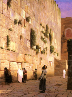 "Jean-Leon Gerome (1824-1904)Solomon's Wall JerusalemOil on canvas73.7 x 92.4 cm(29.02"" x 3' .38"")Private collection"