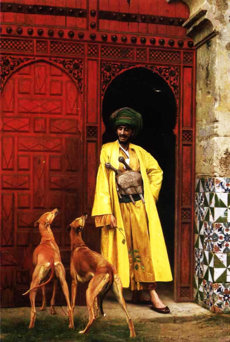 "welovepaintings:  Jean-Leon Gerome (1824-1904)An Arab and his DogsOil on canvas187537.5 x 55 cm(14.76"" x 21.65"")Private collection"