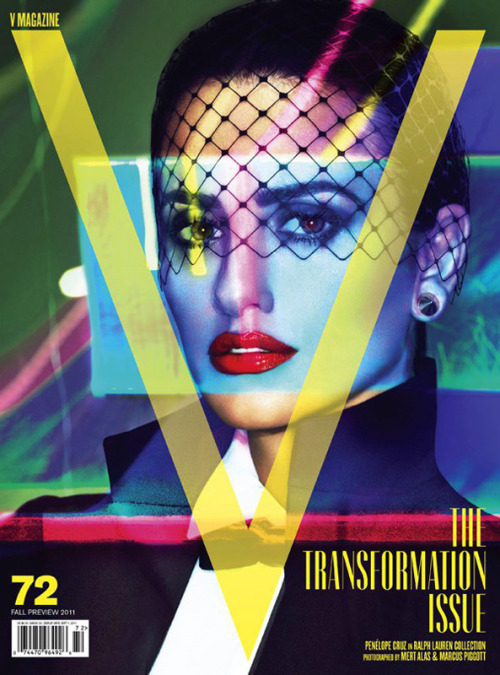 Superb Penélope Cruz V Magazine cover. Fresh look, rad color scheme. Well played. (Shot by Mert + Marcus, naturally).