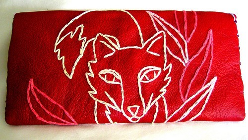 Clutch Red Leather Fox Hand Embroidered Pink White by sewZinski
